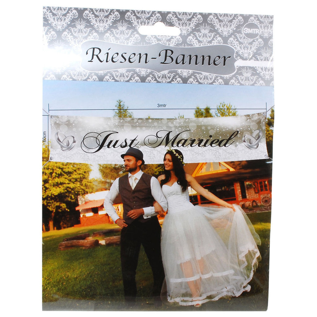 Riesenbanner, 3 Meter, Just married, Hochzeitsdeko